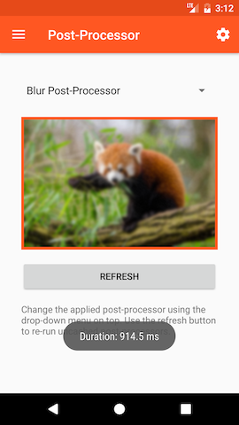 Showcase app with blur post-processor
